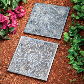 Rosette Decorative Garden Stones- Set of 2