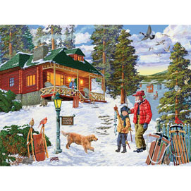 Northern Lights Cabin 1000 Piece Jigsaw Puzzle Bits And
