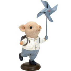 Pinwheel Piglet Tabletop Sculpture