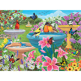 Birdbath Haven 500 Piece Jigsaw Puzzle