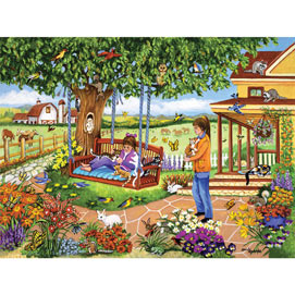 Kittens On The Swing 300 Large Piece Jigsaw Puzzle