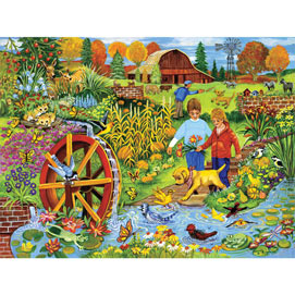 Playing By The Waterwheel 1000 Piece Jigsaw Puzzle