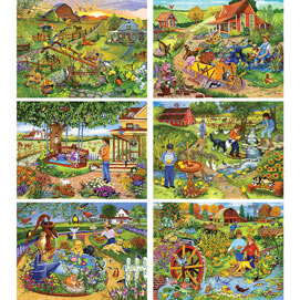 Set of 6: Sandy Rusinko 300 Large Piece Jigsaw Puzzles