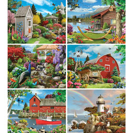 Set of 6: Alan Giana 300 Large Piece Jigsaw Puzzles
