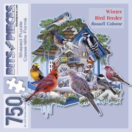 Winter Bird Feeder 750 Piece Shaped Jigsaw Puzzle