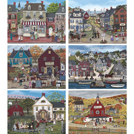 Set of 6: Sharon Ascherl 300 Large Piece Jigsaw Puzzles