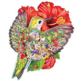 Hummingbird Garden Shaped 750 Piece Shaped Jigsaw Puzzle