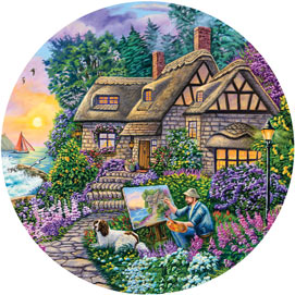 Painter's Cottage 300 Large Piece Round Jigsaw Puzzle
