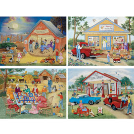 Friendly Folk 500 Piece 4-in-1 Multi-Pack Puzzle Set