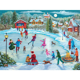 Midnight Ice Skating 500 Piece Jigsaw Puzzle