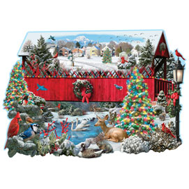 Christmas Covered Bridge 750 Piece Shaped Jigsaw Puzzle