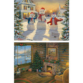 Set of 2: Sam Timm Christmas 1000 Piece Jigsaw Puzzles