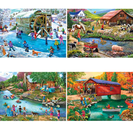 River Escapades 1000 Piece 4-in-1 Multi-Pack Puzzle Set