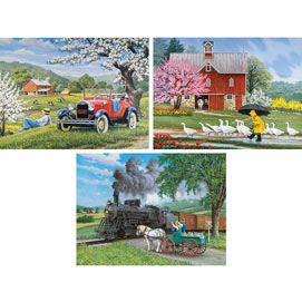Set of 3: Prebox John Sloane 300 Large Piece Jigsaw Puzzles