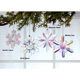 Faceted Crystal Snowflake Ornament - Arctic Lace