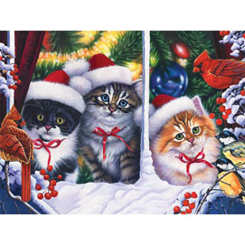 Christmas Cats In the Window 300 Large Piece Jigsaw Puzzle