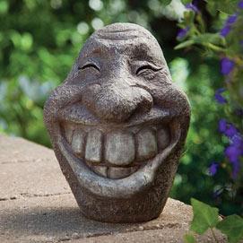 Big Stone Smiley Face Garden Sculpture