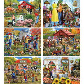 Set of 6: Mary Thompson 300 Large Piece Jigsaw Puzzles
