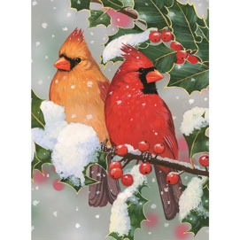 Cardinal Couple With Holly 300 Large Piece Jigsaw Puzzle
