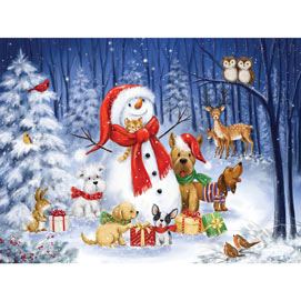 Snowman With Dogs In The Woods 300 Large Piece Jigsaw Puzzle