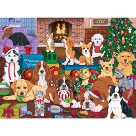 Puppies Christmas Eve 500 Piece Jigsaw Puzzle