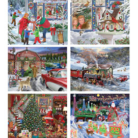 Set of 6: Bigelow Illsutrations 500 Piece Jigsaw Puzzles