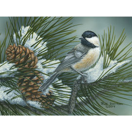 Pine Tree Chickadees 300 Large Piece Jigsaw Puzzle