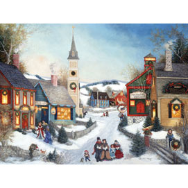 Carolers In Town Sqaure 300 Large Piece Jigsaw Puzzle