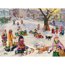 Village Snow Park 300 Large Piece Jigsaw Puzzle