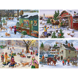 Set of 4: Joseph Burgess 1000 Piece Winter Jigsaw Puzzles