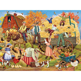 Hitching up for the Hayride 500 Piece Jigsaw Puzzle