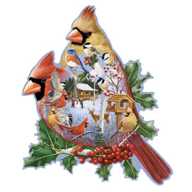 Woodland Cardinals 750 Piece Shaped Jigsaw Puzzle