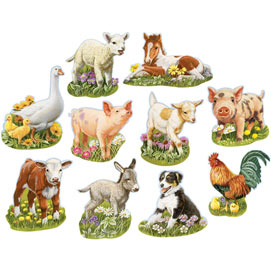 Mini Young Farm Animals 750 Piece Shaped Jigsaw Puzzle