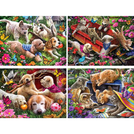 Set of 4: Larry Jones 300 Large Piece Jigsaw Puzzles