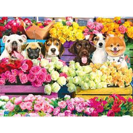 Flower Market Pups 300 Large Piece Jigsaw Puzzle