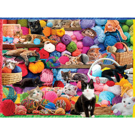 Kittens And Yarn 300 Large Piece Jigsaw Puzzle