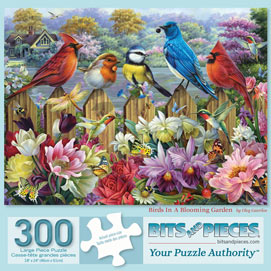 Birds In A Blooming Garden 300 Large Piece Jigsaw Puzzle