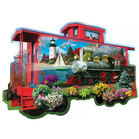 The Red Caboose 750 Piece Shaped Jigsaw Puzzle
