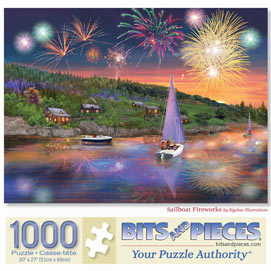Sailboat Fireworks 1000 Piece Jigsaw Puzzle