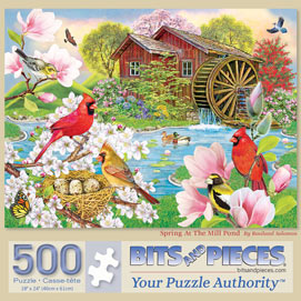 Spring At The Mill Pond 500 Piece Jigsaw Puzzle