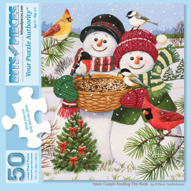 Snow Couple Feeding The Birds 50 Large Piece jigsaw Puzzle