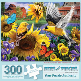 Goldfinches In The Sunflowers 300 Large Piece Jigsaw Puzzle