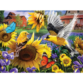 Goldfinches In The Sunflowers 500 Piece Jigsaw Puzzle