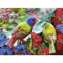 Painted Buntings In The Garden 500 Piece Jigsaw Puzzle
