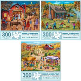 Preboxed Set of 3: Christine Carey 300 Large Piece Jigsaw Puzzles