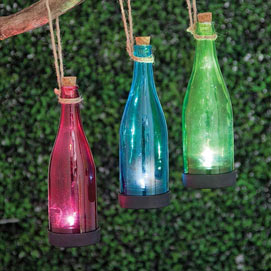 Green Solar Powered Hanging Glass Bottle