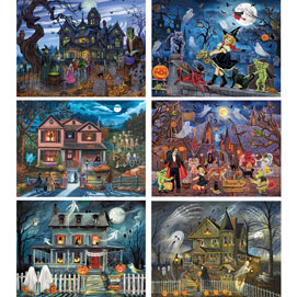 Set of 6: Halloween 1000 Piece Jigsaw Puzzles