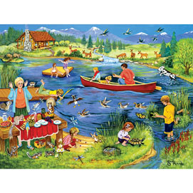 Family Fun At The Lake 500 Piece Jigsaw Puzzle