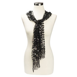 Sequined Scarf - Black