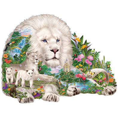 Dream of The White Lion 750 Piece Shaped Jigsaw Puzzle